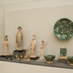 Display Featuring Tang Dynasty Unglazed Pottery Court Figures