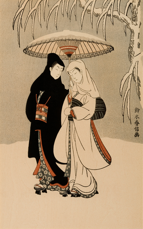 Suzuki harunobu winter scene of black crow and white heron woodblock print 11 5