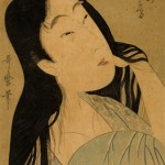 Kitagawa Utamaro, Wife of Nakashina (NakashiIna No Nyobo), woodblock print, 14.75 x 10""