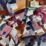 Gerson Leiber, Sprightly Village, 2008, Gouache on paper, 13.75 x 20""