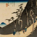 Ando Hiroshige Utagawa, Scene of Travellers Ascending a Tree Lined Mountain Path, woodblock print, 9 x 14""