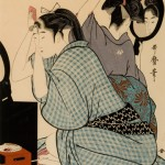 Kitagawa Utamaro,Two Young Women Kneeling Back to Back, Dressing Their Hair in Mirrors, woodblock print, 15 x 9.75""